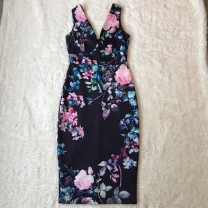 ASOS Floral Bodycon Midi Dress